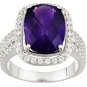 Jewelry - Purple African Amethyst Sterling Silver Ring 6.60c